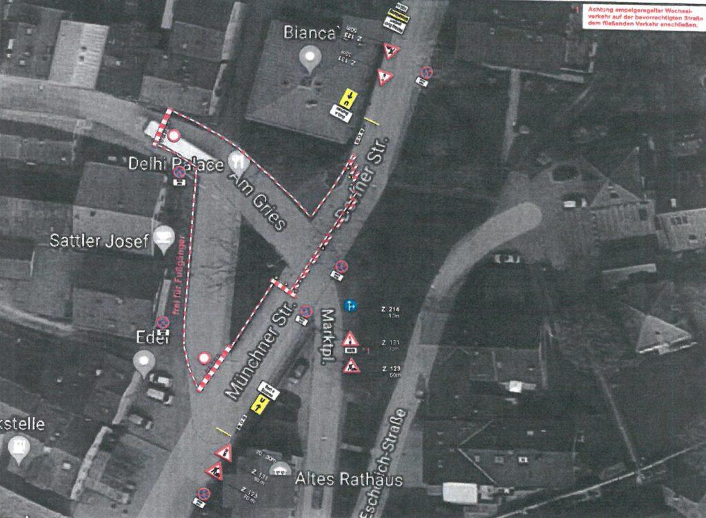 plan Sperre Münchner Strasse Isen